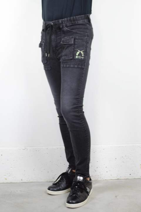 PISTOL★★★ SWAROVSKI 11.5oz 4WAY HIGH STRETCH DENIM / 4WAYハイストレッチデニム (BLACK/スワロ有り)