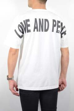 LOVE AND PEACE リフレクタープリントBIG-Tシャツ (WHITE×GRAY)