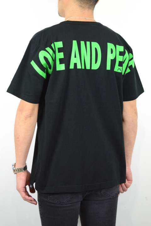 LOVE AND PEACE リフレクタープリントBIG-Tシャツ (BLACK×GREEN)